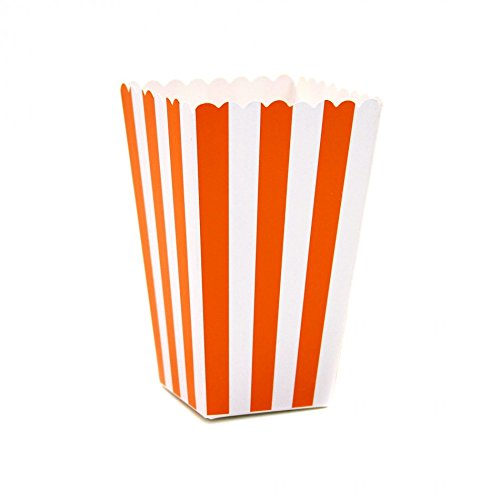 Dress My Cupcake 12-Pack Party Popcorn Boxes, Striped, Orange