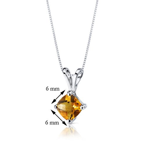 Revoni 14ct or blanc 585/1000 Coussin Coupe 1.00 Carats Citrine pendentif Collier
