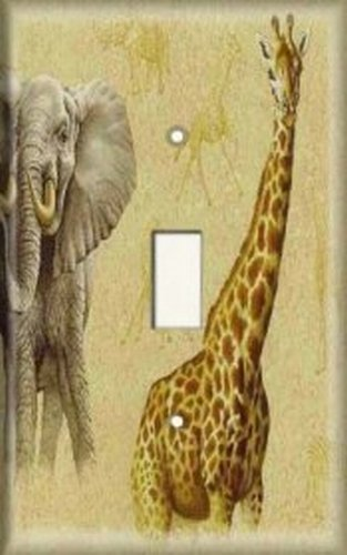 Light Switch Plate Cover - Giraffe And Elephant In Headlight