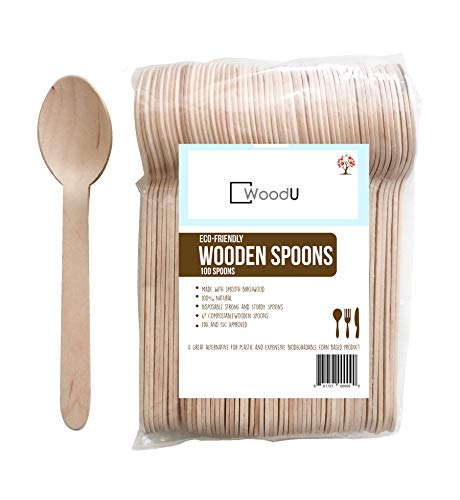 WoodU Disposable Wooden Spoons Natural Birch Wood Biodegradable Utensils Cutlery Eco-Friendly Green (100 pack) ()