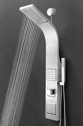 "AKDY 39"" Wall Mount Easy Connect Rainfall Waterfall Multi-Function Shower Panel High Pressure (Stainless Steel)"