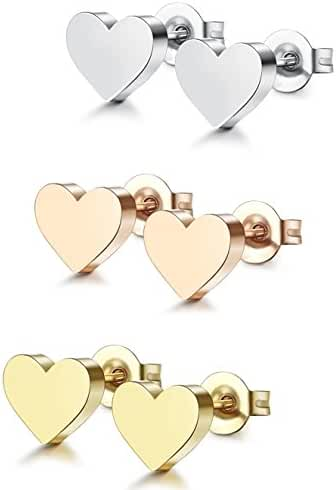ORAZIO 1-3 Pairs Stainless Steel Heart Stud Earrings for Women Men