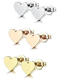 1-6 Pairs Stainless Steel Heart Stud Earrings for Women Men