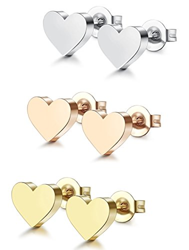 ORAZIO 3 Pairs Stainless Steel Heart Stud Earrings for Women Men