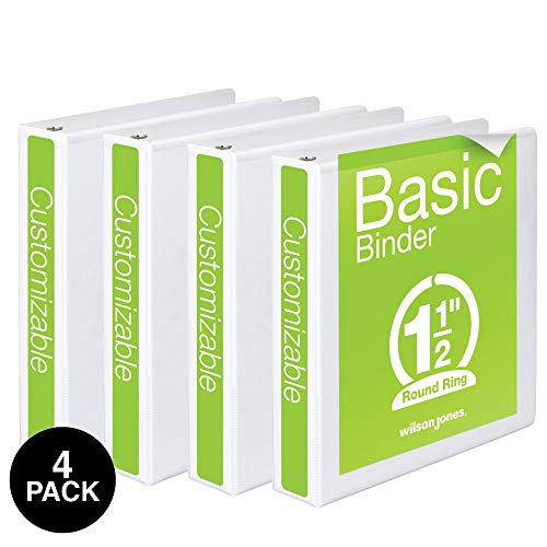 Wilson Jones 1-1/2 Inch 3 Ring Binders, Basic Round Ring View Binders, White, 4 Pack (W70362-34WPP)