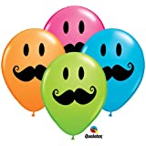 """11"""" Smile Mustache Assorted Latex Balloons - Package of 12"""