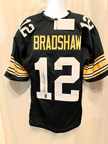 Bradshaw Autographs - Terry Bradshaw Pittsburgh Steelers Signed Autograph Custom Jersey Black Bradshaw Holo JSA Witnessed Certified