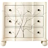 Hand painted Bird Chest, 3-DRAWER, OFF WHITE