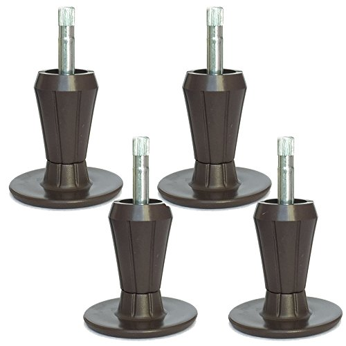 Replacement Bed Frame Feet, 2-Piece Steel Stem Plastic Bed Frame Glide Legs To Replace Wheels, Set of 4