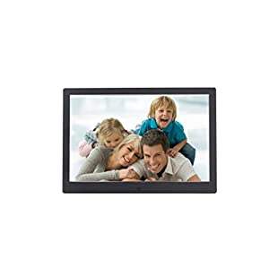 Becoler Ultra-thin Narrow 12-inch Metal Digital Photo Frame High-definition LED Electronic Advertising Album Machine Black