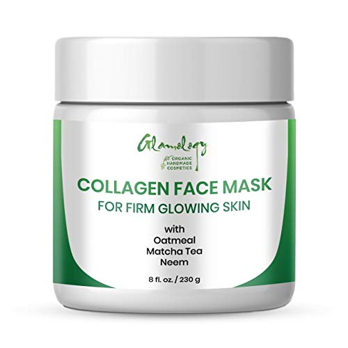 NEW Glamology Handmade Collagen Peptides Face Scrub and Exfoliator for Firm Glowing Skin, Anti-Aging, Wrinkle & Age Spot Repair with Rice Husk, Oatmeal, Matcha Tea, Brown Sugar. (8 fl. oz.)