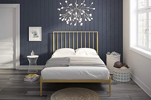 Novogratz Nicole Metal Bed with Storage, Gold, Queen