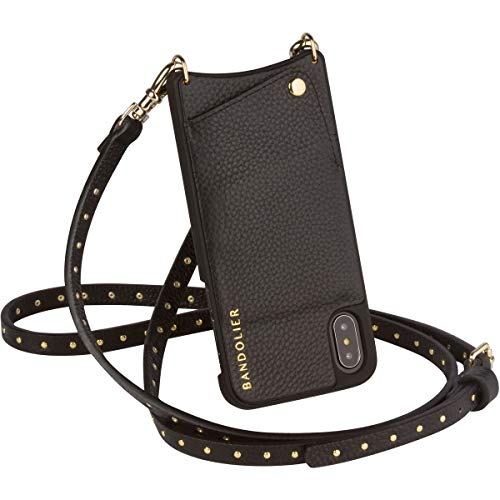 Bandolier [Nicole] Phone Case with Strap Compatible w/iPhone X & XS - Crossbody Adjustable Shoulder Purse Strap & Gold Studs & Leather Wallet & Hard Shell Cover. Handsfree Travel Friendly Accessories