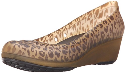 Crocs Women's Carlisa Animal Graphic Miniwedge, Espresso/Gold, 6 US/6 M US
