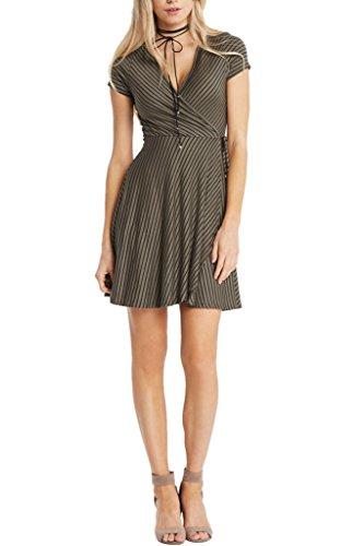 Women's Fashion Mock Wrap Stripes Short Sleeves Knit Classic Dress USA Olive (Mock Wrap Knit Dress)
