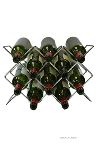 10-Bottle Modern Silver Metal Chrome Free Standing Table Top Wine Rack Holder (Tabletop Wine Rack Metal)