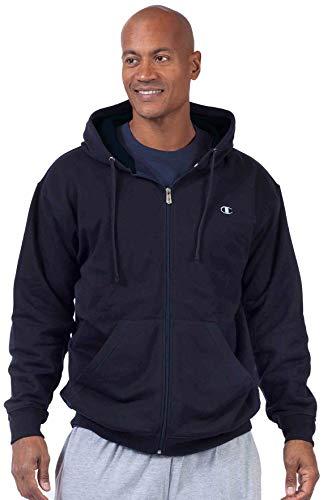 Champion Men's Big & Tall Full-Zip Fleece Hooded Jacket (2X, Navy/Navy)