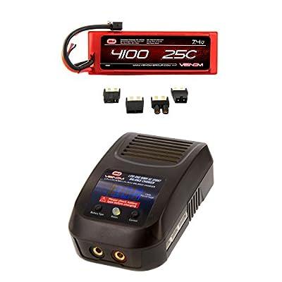 Venom 25C 2S 4100mAh 7.4 Hardcase LiPo Battery with Universal Plug and Venom LiPo and NiMH AC Sport Balance Charger Money Saving Combo