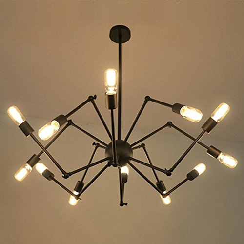 COLORLED Creative Retro Vintage Rural Iron Industrial Telescopic Spider 12-Lights Chandeliers Living Room Pendent Lighting (Black)