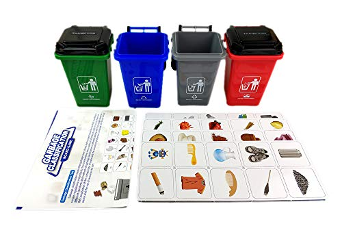 Nuanmu ゴミ箱 おもちゃ 子供 ゴミ箱 分類学習玩具 子供のおもちゃ カードゲーム ボードゲーム 4ピース ゴミ箱 100枚
