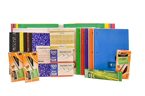 Back to School Pens, Pencils, Paper Supply Kit (Wide Ruled Version)