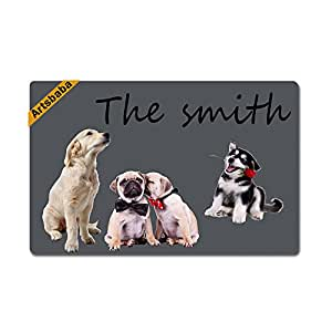 "Artsbaba Personalized Your Text Doormat Dogs Doormats Monogram Non-Slip Doormat Non-woven Fabric Floor Mat Indoor Entrance Rug Decor Mat 23.6"" x 15.7"""
