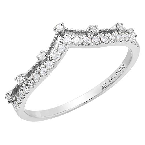 Dazzlingrock Collection 0.25 Carat (ctw) 10K Round Diamond Ladies Chevron Wedding Band 1/4 CT, White Gold, Size 5.5