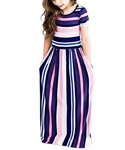 Fashspo Girl's Maxi Dress Summer Short Sleeve Stripe Holiday Long Dress with Pocket Stripe Purple Size 2-3T