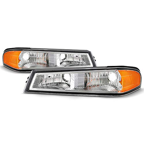 [For 2004-2012 Chevy Colorado & GMC Canyon Pickup Truck Models] OE-Style Chrome Bezel Parking & Turn Signal Front Bumper Light Lamp Housing Assembly Replacement, Driver & Passenger Side