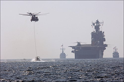 24x36 Poster . Hm-53E Sea Dragon Helicopters Mine Sweeping Uss Saipan