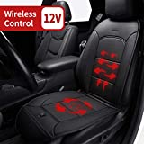 LARROUS Car Leather Heated Seat Cushion with Automatic Power On and Off,for Car,Office Chair,Home and More(12Volt,Black) (Luxury)
