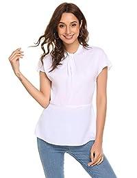 Concep Women's Cap Sleeve Mock Neck Tank Tops Pleated Chiffon Blouse Slim Fit T Shirt