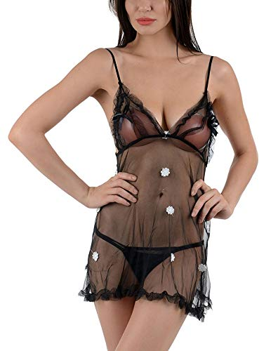 478afe56d4b Temfen Women s Net Babydoll Dress (Black