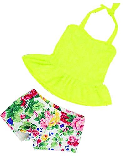 TM Girls Lace Halter Ruffle Tankini Floral Short 2Piece Swimsuit Swimwear L Yellow