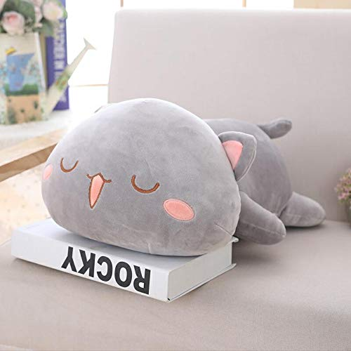 UBILILI Cat Plush Toy - Lying Cat Plush Toys Stuffed Cute Cat Doll Lovely Animal Pillow Soft Cartoon Cushion Kid Gift - 20 Inch Grey Sleeping Eyes - Siamese Pink Cats Large Toys Mini Monkey