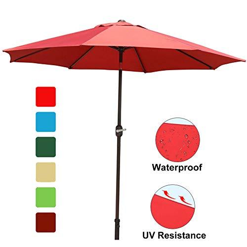 GOLDSUN Patio 9 Ft Market Outdoor Aluminum Table Patio Umbrella with Push Button Tilt and Crank,Dark red
