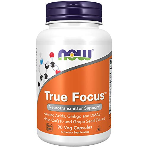 NOW Supplements, True Focus with Amino Acids, Ginkgo and DMAE + CoQ10 and Grape Seed Extract , 90 Veg Capsules