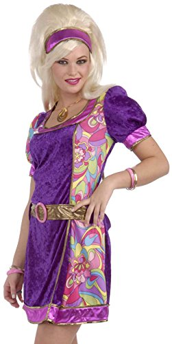 Forum Novelties Women's 60's Revolution Mod Funky Time Costume Dress, Multi, X-Small/Small