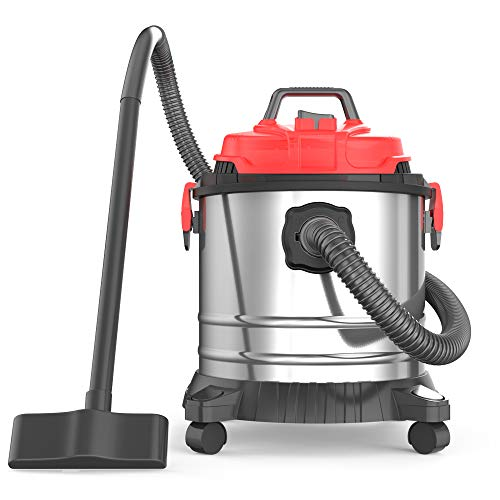 Heavy Duty Wet-Dry Vacuums, 5 Gallon 20 L 4.5 Peak HP Stainless Steel Tank Movable and Portable Vac for Home, Shop and Industrial Multipurpose (5 Gallon 20 L, 4.5 HP)