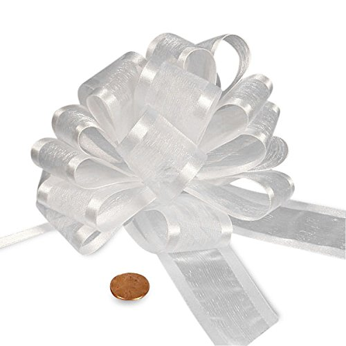 - White Sheer Pull Bow with Satin Edges 4