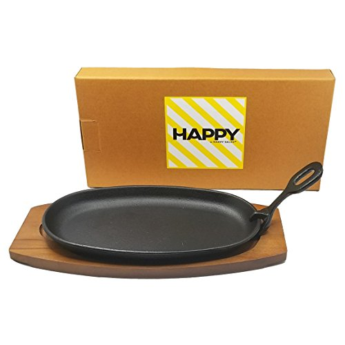 Happy Sales HSS-TBSP2, Cast Iron Steak Plate Set Medium 6W x 2H x 12L, Black