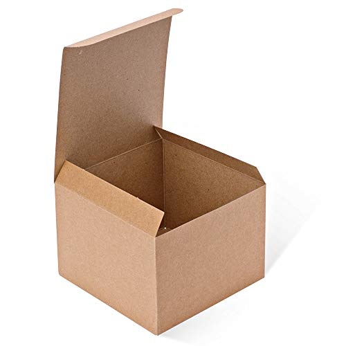 MESHA Kraft Boxes 5 x 5 x 3.5 Inches, Brown Paper Gift Boxes with Lids for Gifts, Crafting, Cupcake Boxes (10)
