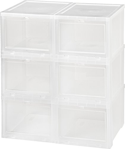 Front Access Door (IRIS Small Drop Front Shoe Box, 6 Pack, Clear)