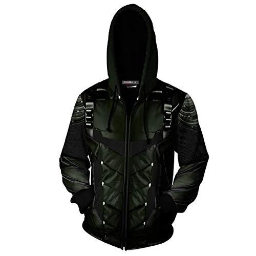Arrow 3D Zipper Hoodies Sweatshirt Oliver Queen Jacket Cosplay Costumes Coat 2XL ()