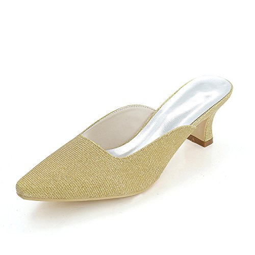 L@YC Female Slippers & Evening Club Summer Silk Wedding / Party Multi-Color / Large Size Gold lIEHSV