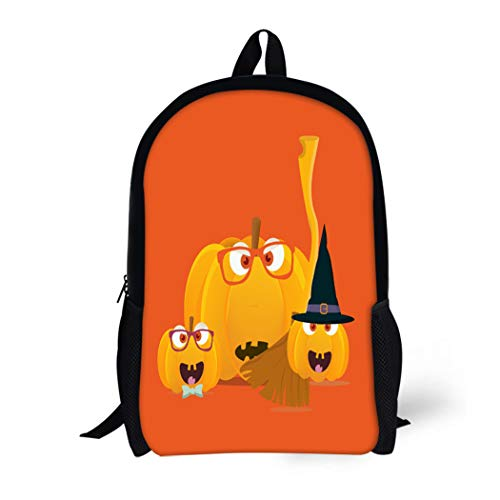 Pinbeam Backpack Travel Daypack Halloween Pumpkins Mascots Squash Family Faces Witch Broom Waterproof School Bag ()
