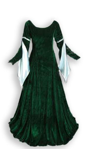 Velvet Renaissance Medieval Gown with Satin Lined Arm Tippets (2)