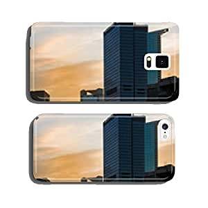 Skyline of business buildings at sunset in Frankfurt, Germany cell phone cover case Samsung S6