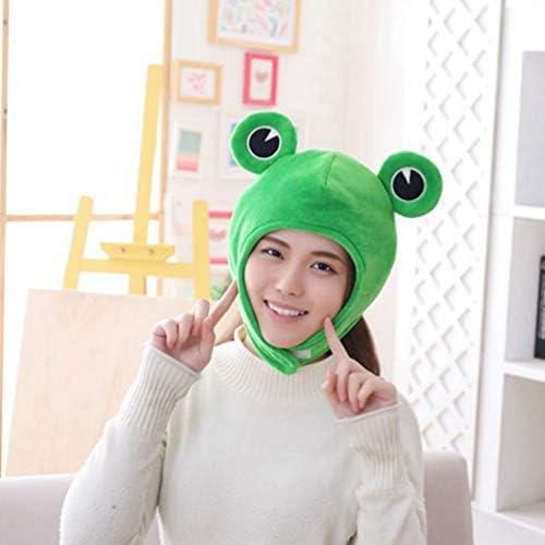 Amosfun Cute Plush Frog Hat Winter Scarf Cap Ears Winter Ski Hat Full Headgear Novelty Party Dress up Cosplay Costume Green