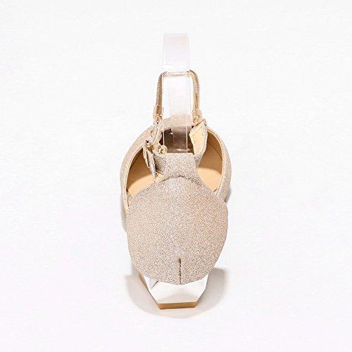 BalaMasa Closed Low Fabric Closure Gold Cold Toe Heel Sandals Sandals Womens No ASL04682 Lining 11qZf